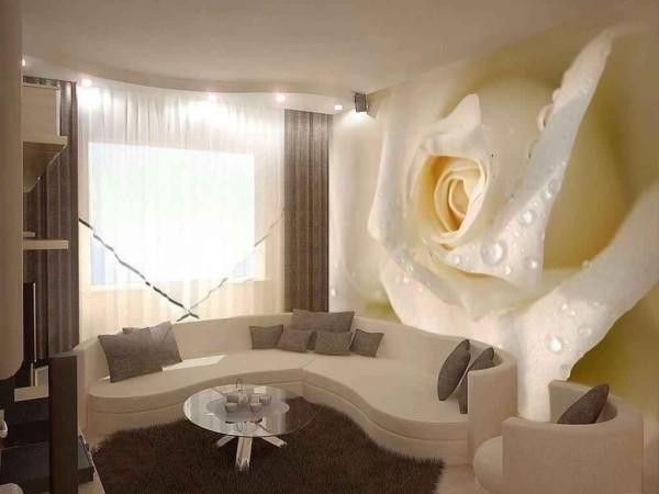 Фотообои белая роза с эффектом 3Д, в интерьере гостиной
