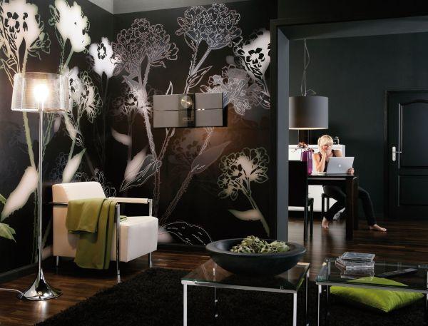 Фотообои бело-чёрные цветы в интерьере гостиной