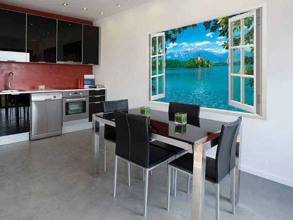 Фотообои фальш-окно, в интерьере обеденной зоны кухни