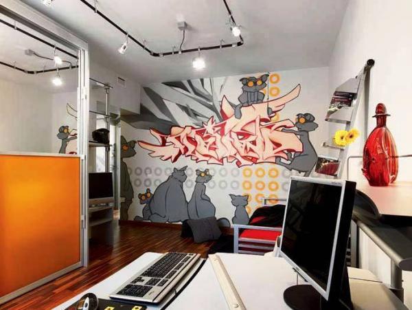 Фотообои граффити в интерьере комнаты подростка