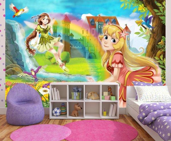 Фотообои красивых девочек, феечек из мультиков, в интерьере детской комнаты