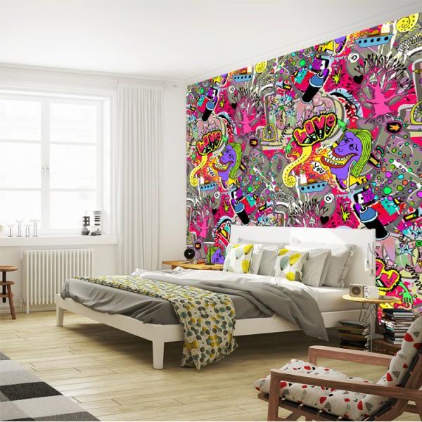 Фотообои на стену граффити в интерьере спальни