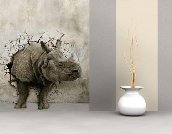 Фотообои на стену, с изображением носорога пробившего стену