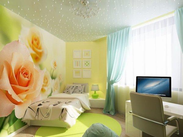Фотообои розы в интерьере комнаты для молодой девушки