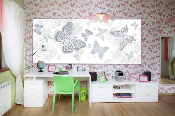 Фотообои с бабочками в интерьере комнаты девочки-подростка