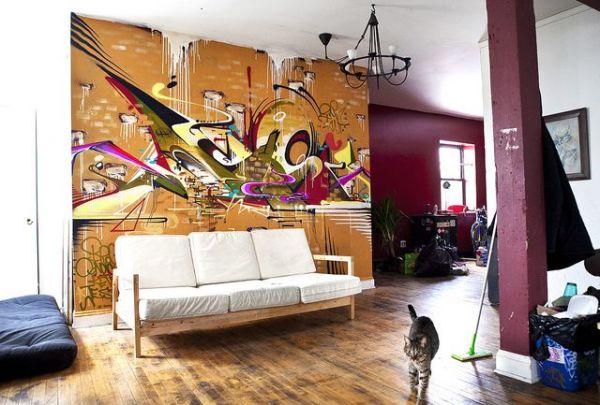 Фотообои с граффити в интерьере гостиной, в стиле лофт