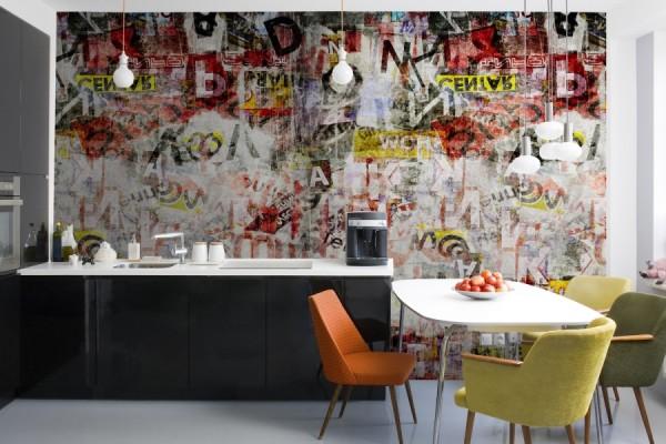 Фотообои с граффити в интерьере кухни