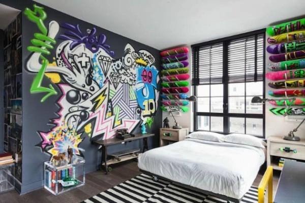 Фотообои с граффити в интерьере молодёжной спальни