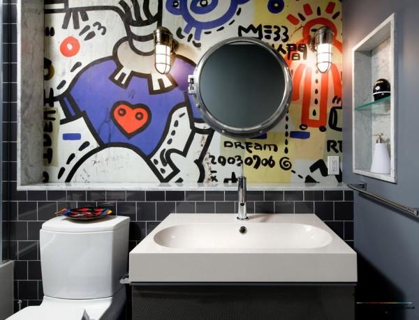 Фотообои с граффити в интерьере ванной комнаты