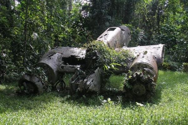 Фотообои с изображением старого самолёта подбитого во время войны
