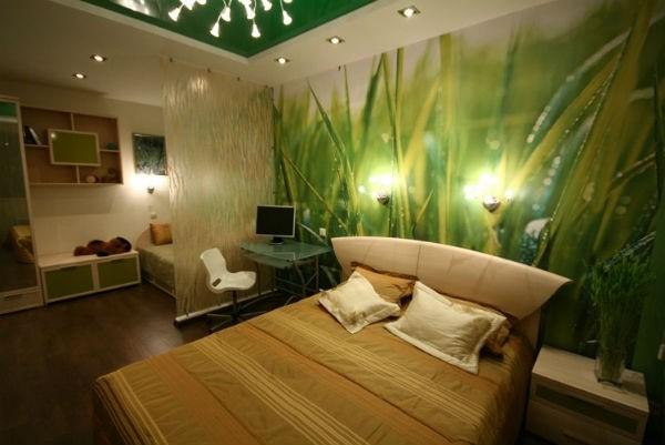 Фотообои с макро изображением травы, в интерьере спальни