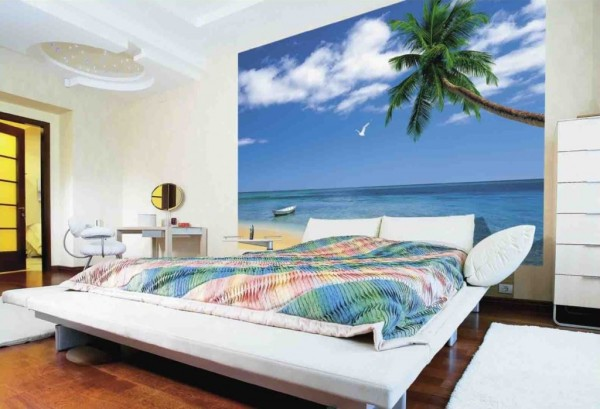 Фотообои с морским пейзажем в минималистическом интерьере молодёжной спальни