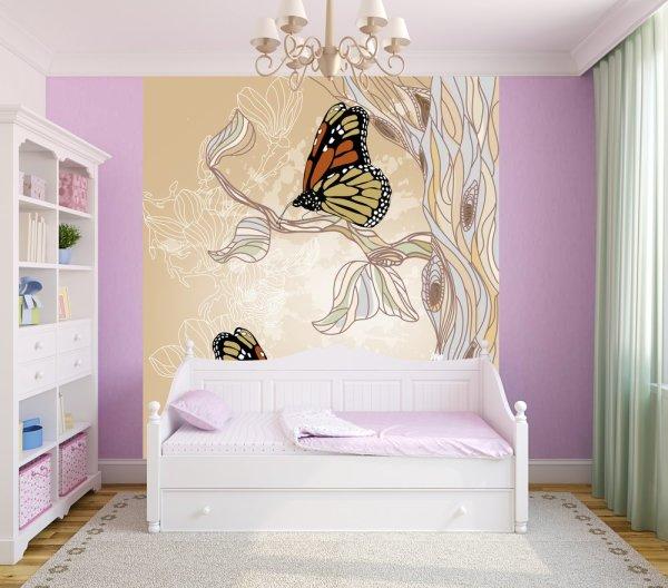 Фотообои с нарисованными бабочками, в интерьере детской спальни