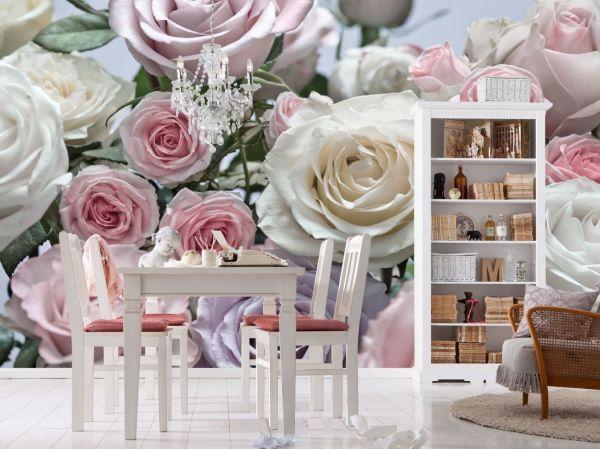 Фотообои с розами в интерьере классической гостиной