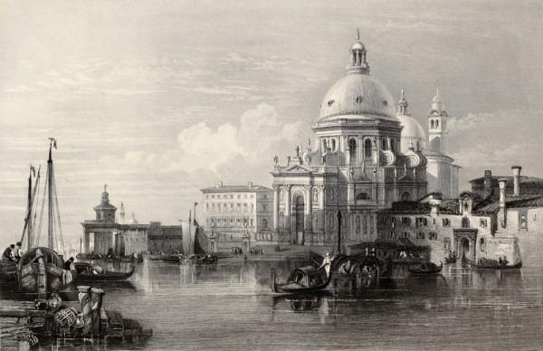 Фотообои с видом старой Венеции, в чёрно-белых тонах