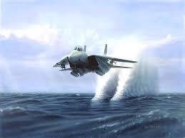 Фотообои самолет, летящий над водой истребитель