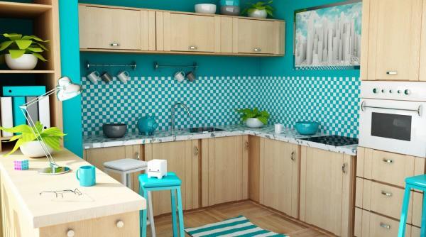 Голубые обои для светлой кухни