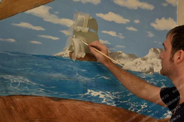 Художественная роспись на стене, сделанная при помощи акриловых красок