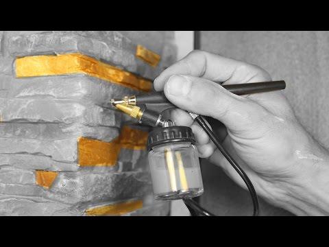 Использование пульверизатора для покраски гипсового камня