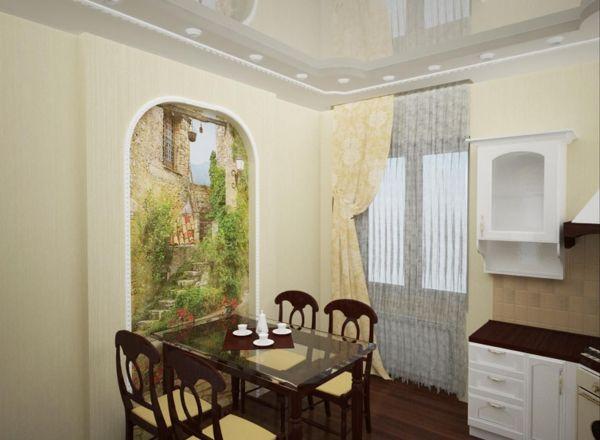 Кухня и фотообои в виде небольшого настенного панно