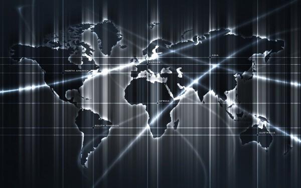На фото, чёрно-белые фотообои карта мира, светящаяся в темноте