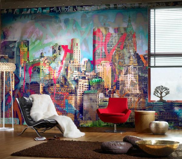 На фото, фотообои с видом на город, выполненные в виде граффити