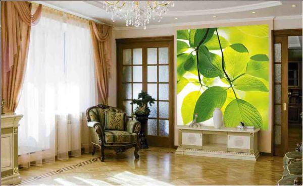 На фото, фотообои с яркой весенней расцветкой, в интерьере гостиной