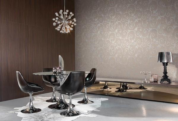 На фото, комбинирование двух видов обоев, виниловых и флизелиновых в одной гостиной