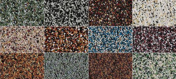 На фото показана лишь малая часть цветовой палитры мозаичной штукатурки