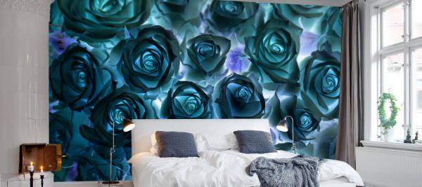 Необычные фотообои с розами, в интерьере современной спальни