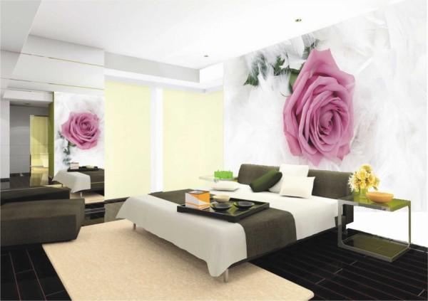 Нежнейшая роза на фотообоях, в интерьере спальни