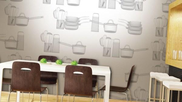 Обои с рисунком кухонной утвари в интерьере кухни