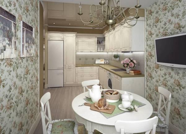 Обои с цветочным принтом в интерьере кухни