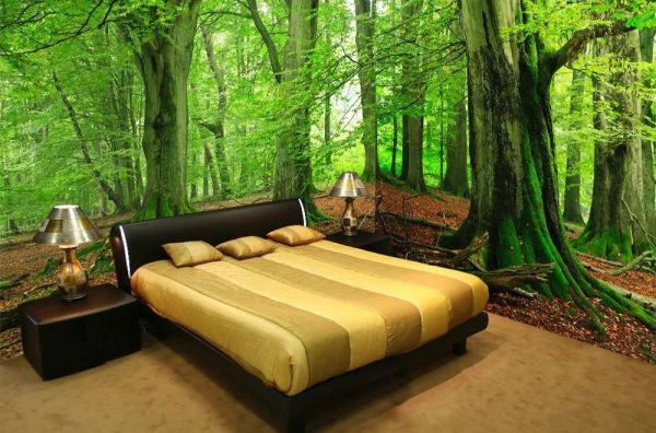 Панорамные 3д фотообои на несколько стен, в интерьере спальни