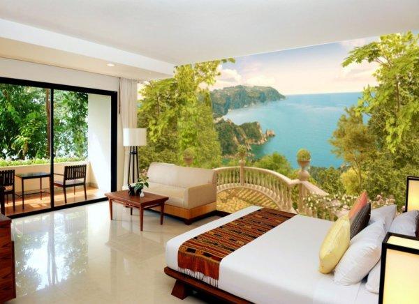 Панорамные фотообои с потрясающим видом с балкона, в интерьере спальни