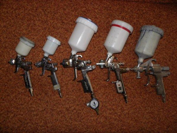 Пневматические пульверизаторы разных размеров