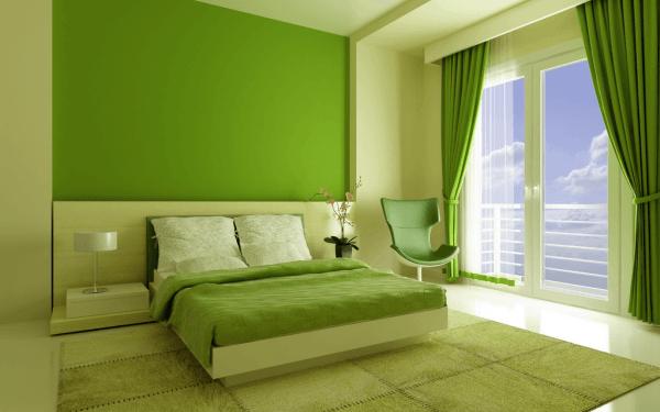 Покраска стен в два цвета в спальне