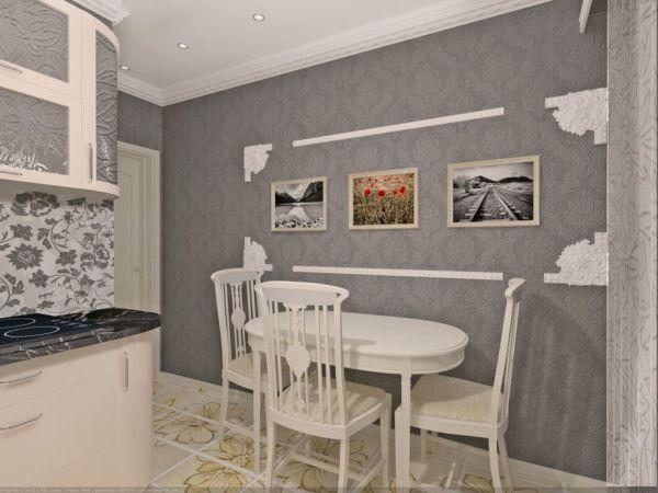 Серые обои и белая мебель в интерьере кухни
