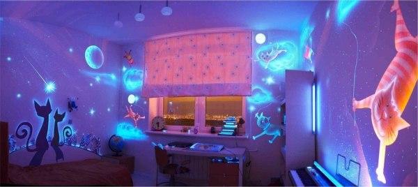 Светодиодные 3d фотообои в интерьере детской комнаты