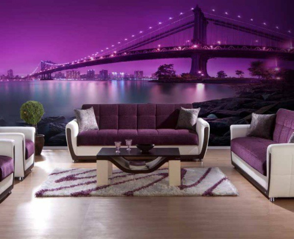 Светящиеся фотообои с 3d эффектом, в фиолетовом цвете