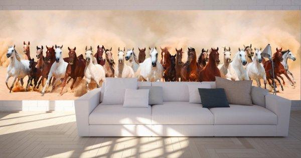 Табун лошадей на фотообоях в гостиной
