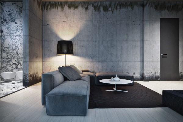 Вариант модного дизайна: оштукатуривание стен «под бетон»