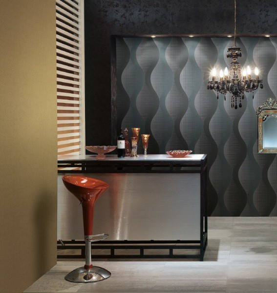Виниловые обои с объёмным рисунком в интерьере кухни в стиле минимализм
