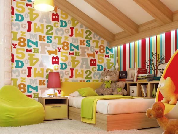 Виниловые обои с тематическим рисунком в интерьере детской комнаты