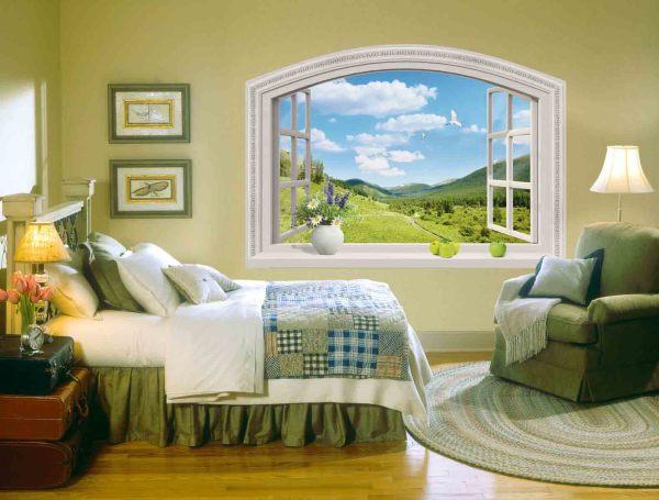 Фотообои с изображением видом из окна на горный пейзаж, в деревенском интерьере спальни