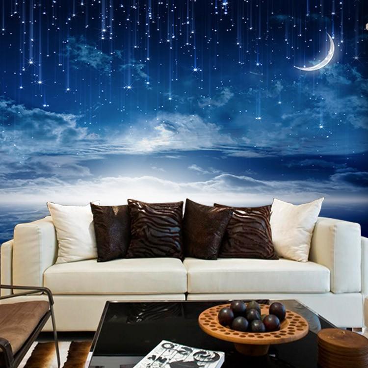 Фотообои с изображением звёздного дождя на синем небе