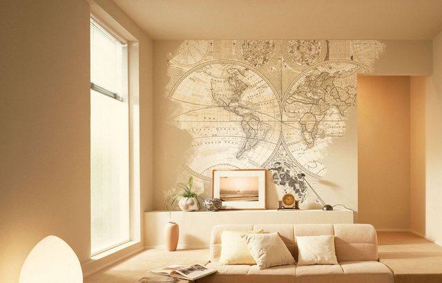 Фотообои фреска с изображением карты мира, в интерьере современной гостиной
