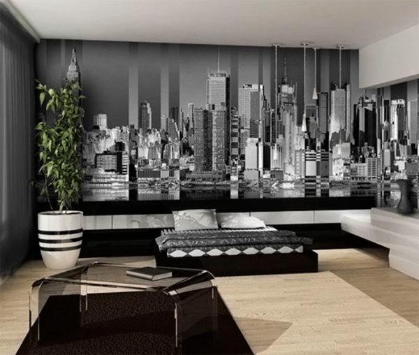 Черно белые фотообои нью йорк в интерьере современной спальни