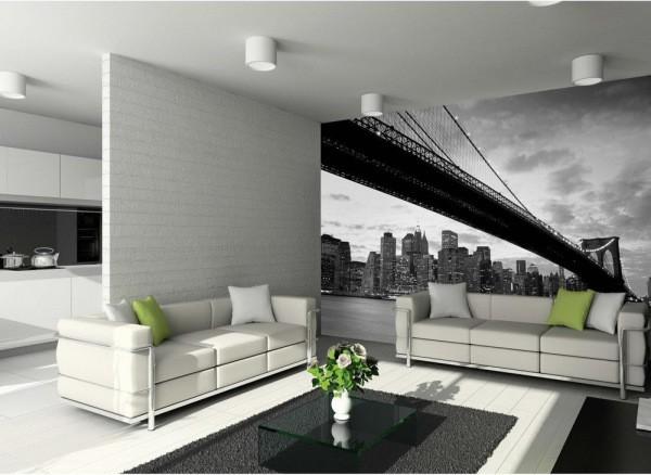 Чёрно-белые фотообои с изображением Бруклинского моста в интерьере гостиной