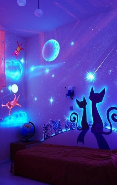 Флуоресцентные фотообои с изображением сказочного ночного неба, светящиеся в темноте